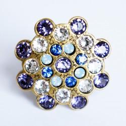 Bague réglable violette, blanche et bleue en cristal de Swarovski