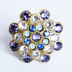 Purple, white and blue adjustable ring