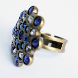 Adjustable ring in purple, white and blue with Swarovski crystal