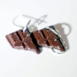 Boucles d'oreilles carreaux de chocolat
