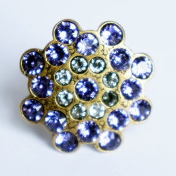 Purple and white adjustable ring with Swarovski diamantes