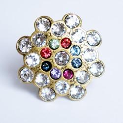Bague réglable imitation diamants et pierres précieuses