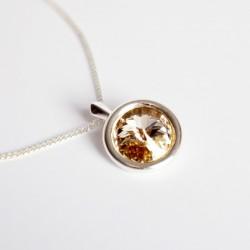 Swarovski round beige pendant with silver chain