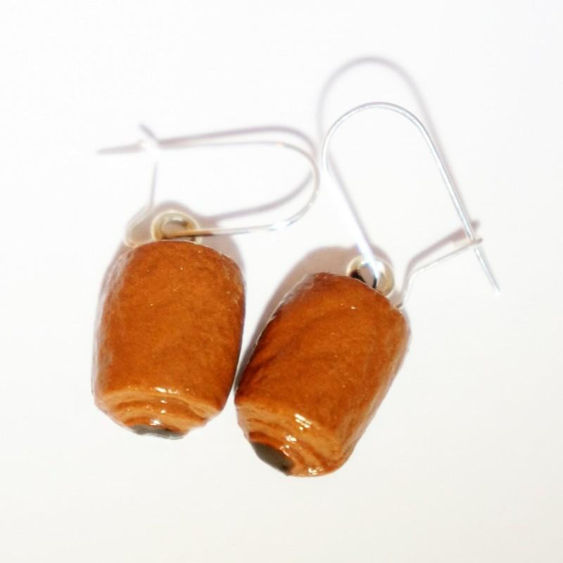 Boucles d'oreilles petits pains au chocolat