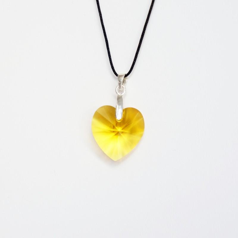 Pendentif coeur jaune en cristal de Swarovski