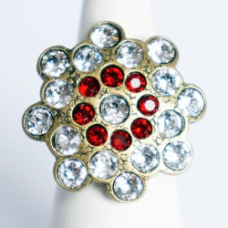Red and white adjustable ring with Swarovski diamantes