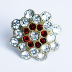 Bague réglable imitation diamants et rubis