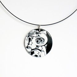 Black and white pendant in polymer clay