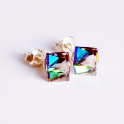 Boucles d'oreilles cubes en cristal de Swarovski