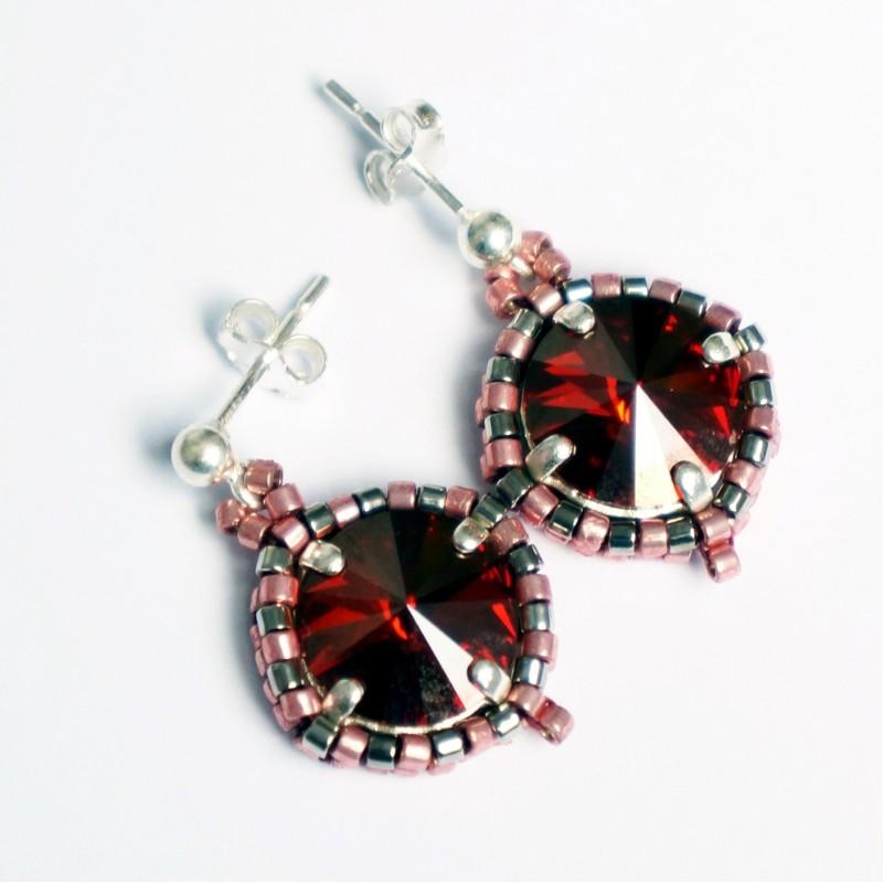 Boucles d'oreilles rouges - oranges en perles de cristal