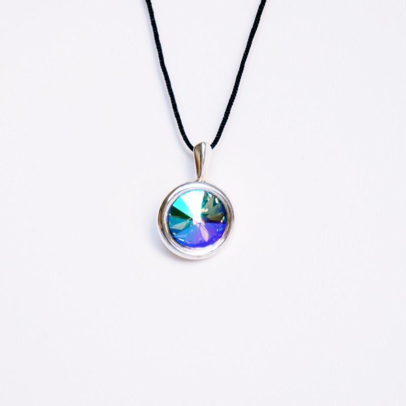 Petit pendentif rond arc-en-ciel ou multicolore en cristal de Swarovski