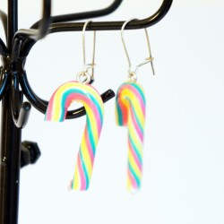 Multi-colored candy cane earrings