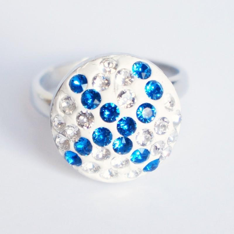 Bague bleue et blanche en cristal de Swarovski