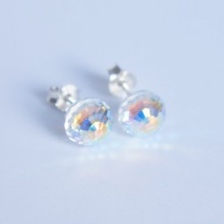 Swarovski crystal round faceted earrings