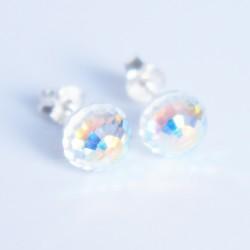 Boucles d'oreilles rondes facettées en cristal de Swarovski