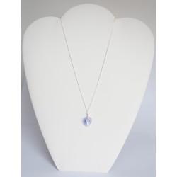 Pendentif coeur en cristal transparent bleu / violet
