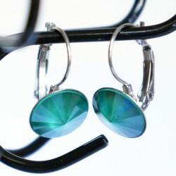 Boucles d'oreilles rondes et vertes en cristal