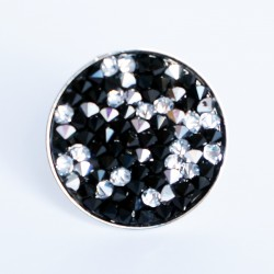 Black and white ring with Swarovski's beads