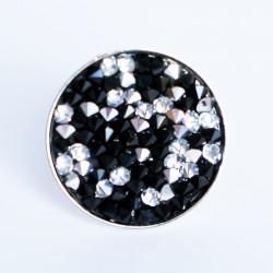 """Grande bague """"noir et blanc"""" avec toupies en cristal de Swarovski"""