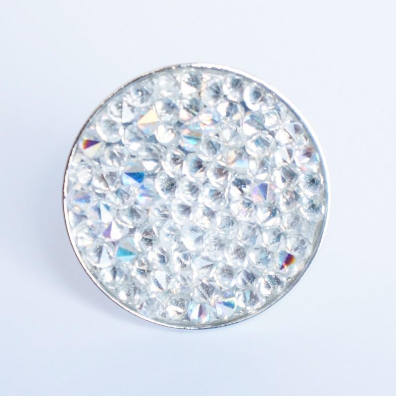 Grande bague argentée avec toupies en cristal de Swarovski