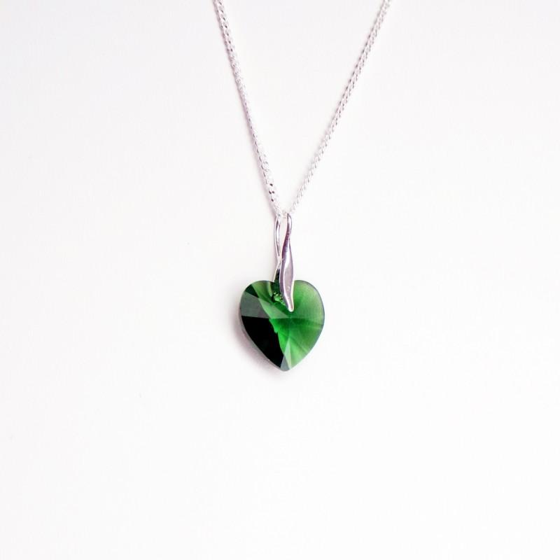 Collier coeur en cristal transparent vert