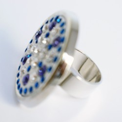 Large multi-color ring imitation precious gems