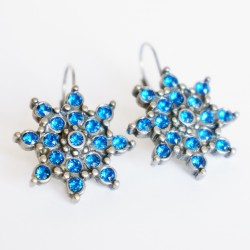 Blue star or flower earrings