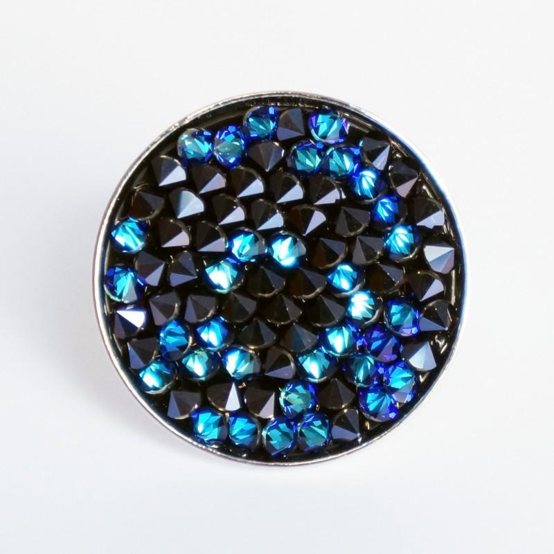 Grande bague noire et bleue avec toupies en cristal de Swarovski