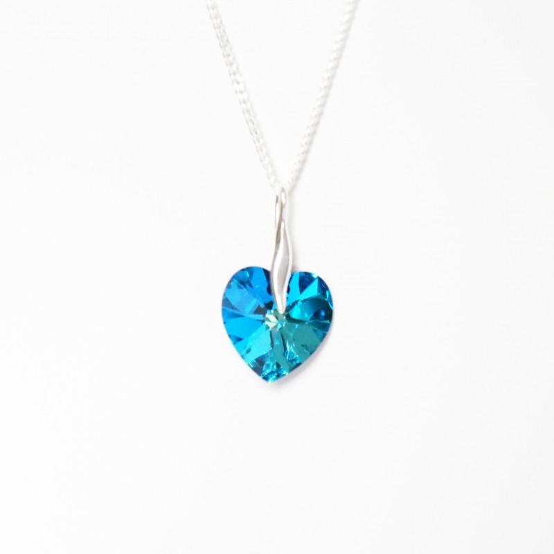 Blue heart pendant with metallic sparkle les bijoux du nibou new blue crystal heart necklace aloadofball Images