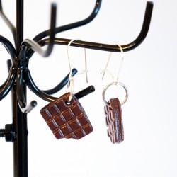 Boucles d'oreilles tablettes de carreaux de chocolat