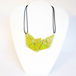 Modern, handmade green necklace