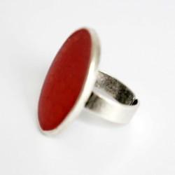 Bague ovale rouge - taille réglable