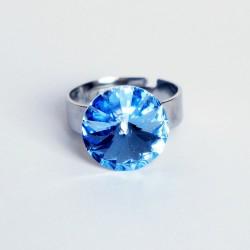 "Bague imitation ""saphir"" bleu en cristal de Swarovski"