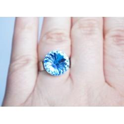 "Bague imitation \\""saphir\\"" bleu en cristal de Swarovski"