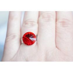 "Bague imitation ""rubis"" rouge en cristal de Swarovski"