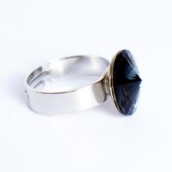 """Bague imitation """"onyx"""" noire en cristal de Swarovski"""