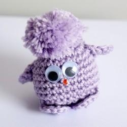 Porte-clé piou-piou / oiseau violet en laine