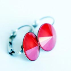 Boucles d'oreilles pendantes, rondes et rouges