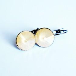 Boucles d'oreilles pendantes, rondes et blanches