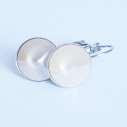 White round drop earrings