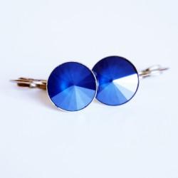 Boucles d'oreilles pendantes, rondes et bleues marines