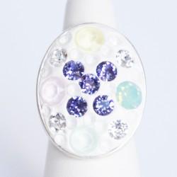 Bague multicolore ovale en cristaux de Swarovski
