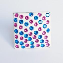 Bague carrée bleue et rose