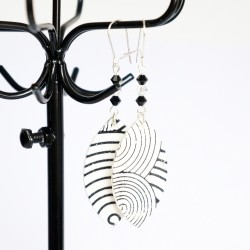 White and black earrings