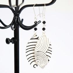 White and black earrings