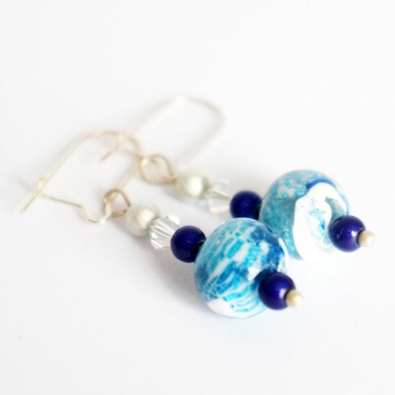 Boucles d'oreilles bleues