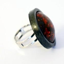 Grande bague réglable rouge et noire