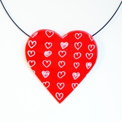 Big red pendant with white hearts