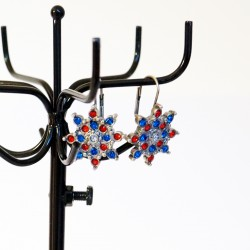 Red and blue star earrings