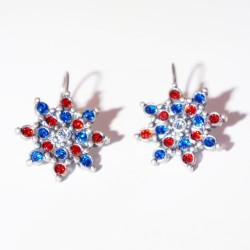 Boucles d'oreilles étoiles rouge et bleu